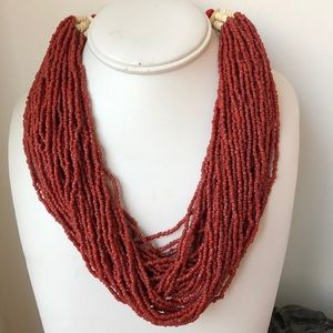 Jewelry - Torsade Red Coral seed bead bone necklace